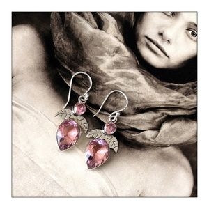 Sterling Silver Pink Faceted Kunzite Earrings